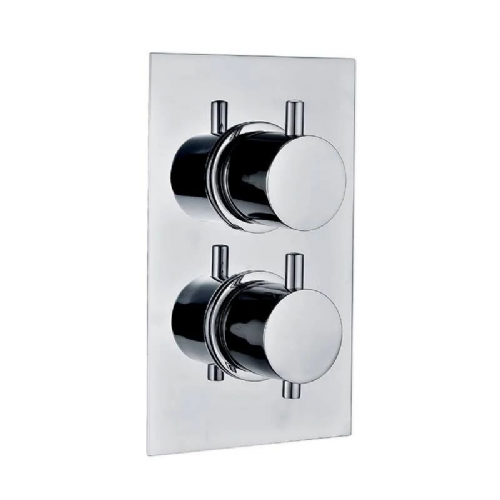 Abacus Essentials Thermostatic Round Concealed Shower Valve Dual Outlet - Chrome